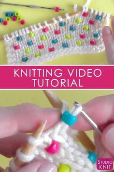 How to Knit Beads Into Any Project So cool! I'm learning how to Knit Beads into any project with Studio Knit - Super Easy! via How to Knit Beads Into Any Project So cool! I'm learning how to Knit Beads into any project with Studio Knit - Super Easy! Knitting Videos, Knitting For Beginners, Knitting Stitches, Knitting Needles, Knitting Patterns Free, Knitting Yarn, Free Knitting, Crochet Patterns, Weave In Ends Knitting