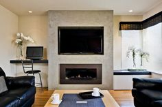 tv fireplace wall units | Asian Home tv above fireplace Design Ideas, Pictures, Remodel and ...