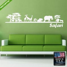 Wall Decal Decal Sticker Cute Safari Elephant Trees Kids Animals Bedroom  z154