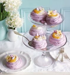 These sweet, little meringue nests are lemon and lavender flavour. Topped with a couple of Easter eggs, they look fantastic in the centre of any table.