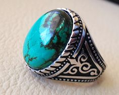 nishapur tibetan turquoise blue natural high quality stone men ring sterling silver 925 all semi precious gem middle eastern style Risk free Quality guarantee policy : If you are not satisfied with your item for any reason simply send it to us and you will get a replacement or full refund . no risk ... no cost ... no expenses . please write or choose your size with the order and we will size it for you . Our ring is handcrafted mostly with a few simple tools . but some methods are used in…
