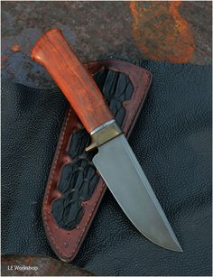 Knife, tough one, (bearing steel, copper, titan, ironwood) - Leonid Evdokimov