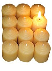 """""""Beeswax candles burn with the spectrum of the sun emitting a brighter, longer burning flame. It is a well established fact that while burning, beeswax candles naturally emit negative ions which clean the air and invigorate the body."""""""