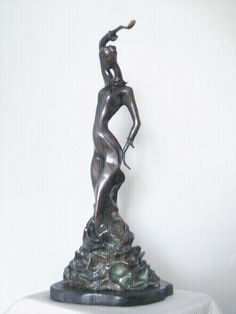 #Bronze #sculpture by #sculptor Liubka Kirilova titled: 'Flamenco (Contemporary Modern Stylised statuette)'. #LiubkaKirilova