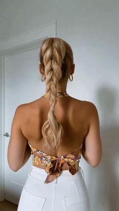 Casual Hairstyles, Pretty Hairstyles, Girl Hairstyles, Heatless Hairstyles, Braided Hairstyles Updo, Braided Ponytail, Summer Hairstyles, Curly Hair Styles, Natural Hair Styles