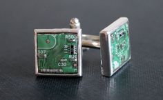 Silver Tone Square Circuit Board Cufflinks  Green by MauveMagpie, £15.00