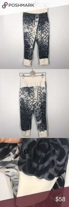 Lululemon feather cream cropped joggers sz 8 These joggers are like new! Size 8. Cropped style with cross over front. lululemon athletica Pants