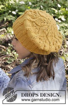 Little Sunshine girls beret by DROPS Design. Free knitting pattern