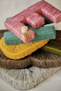 """DIY yarn letters-Use to make """"MAKE"""" for craft room Yarn Wrapped Letters, Yarn Letters, Cardboard Letters, Wooden Letters, Diy Letters, Twine Letters, Decorate Letters, Yarn Covered Letters, Giant Letters"""