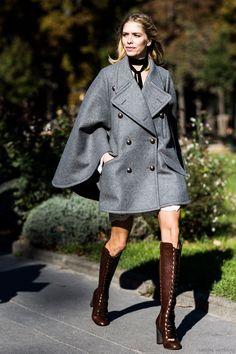 Elena Perminova in Chloé - SS16 Paris Fashionweek Day 2 / Street Style #streetstyle #fashion #streetfashion