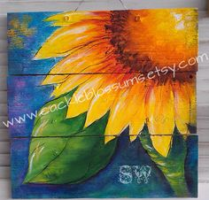 Colorful Sunflower on Rustic Wood Acrylics by cackleblossums, $69.00