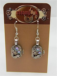 Steampunk earrings - smokey A/B - Steampunk jewelry made with real vintage watch parts