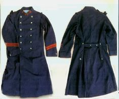 "151st Line Infantry Regiment la Capote (""greatcoat""): model 1877, iron blue wool (""technically, bluish iron-gray -- 90% indigo-dyed, 10% unbleached white); double-breasted with two rows of six buttons (model 1871) in brass with flaming grenade in relief; button-back capes; standing collar; linen lining. The collar patches consist of the regimental numerals in iron blue, sewn onto a madder patch."