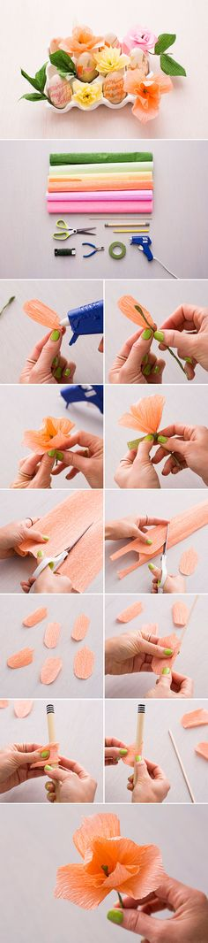 Follow this tutorial to make flowers out of crepe paper.