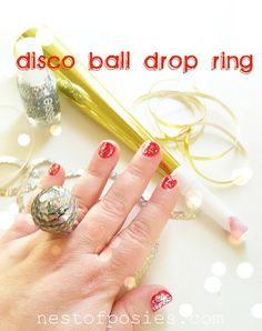 Disco Ball Drop Ring for New Year's from Nest of Posies. So cute!