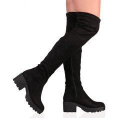 c2d2ae66fcaa Carmen Over The Knee Black Faux Suede Boots