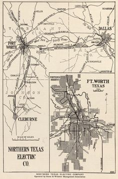 vintage rail map texas dallas fort worth - Google Search