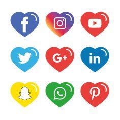 Social Media Icons Set Free Logo Design Template Vector and PNG Black Social Media Icons, Social Media Art, Social Icons, Icones Facebook, Icon Design, Web Design, Create Website, Logo Design Template, Free Logo