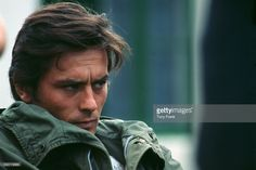 French actor Alain Delon on the set of the 1967 French movie Les Aventuriers, directed by Robert Enrico.