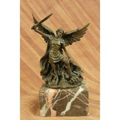 ON SALE !!! Signed Original Valli Religious Church Saint St Michael Lucifer Bronze Sculpture...This Is A Bronze Sculpture Featuring St. Michael Slaying Lucifer. Religious Legends Says In The Book Of Revelations That Michael, One Of The Mightiest Of The Angels, When War Waged In The Heavens, Commanded Angels Under Him To Fight Against Satan And His Angels. Lucifer Lost The Battle And Was Forced Out Of Heaven. The Sculpture Captures St. Michael In His Holy Might Smiting The Horned Evil Under…