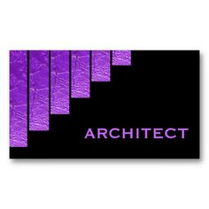 Modern purple, black vertical stripes with metallic shine architect business card template. #businesscards, #purple, #architect, #feminine. #stripes See more business cards here  http://www.zazzle.com/justbusinesscards?rf=238228936251904937&CMPN=zBookmarklet