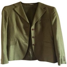 Pre-owned Jacket made of silk / cashmere ($200) ❤ liked on Polyvore featuring outerwear, jackets, olive, army green jacket, cashmere jacket, maxmara, olive jacket and lightweight jackets