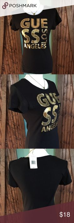 NWT GUESS T-SHIRT Black and Gold Size L Black and Gold Guess T-shirt Beautiful and a Comfortable ❤️ Guess Tops Tees - Short Sleeve