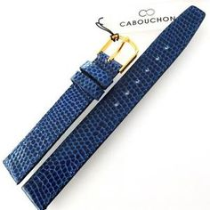 14mm CABOUCHON LIZARD GRAIN BLUE LEATHER WATCH STRAP. GOLD or SILVER BUCKLE