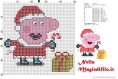 Peppa Pig, Cross Stitch Christmas Cards, Christmas Cross, Cross Stitch Charts, Cross Stitch Patterns, Stitch Character, Stitch Cartoon, Dmc, Perler Patterns