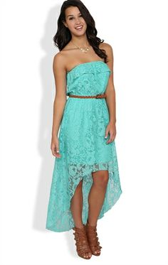 Strapless Lace High Low Dress with Ruffle Bodice and Belt #trixxi