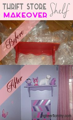 A little paint goes a long way on this #thriftstore shelf! Check out this cool transformation. #diy