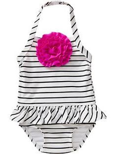Striped-Ruffle Rosette Swimsuits for Baby | Old Navy... The question is how many swimsuits does Leni need??? (I only have 1 right now that I got her... hmmm)