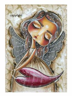 Beautiful Paintings Of Nature, Angel Protector, Pop Art Drawing, Nurse Art, Angel Drawing, Abstract Portrait, Angel Art, Whimsical Art, Caricatures