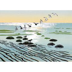 'Turn Of The Tide' by Printmaker Rob Barnes. Blank Art Cards By Green Pebble. www.greenpebble.co.uk British Seaside, Art Cards, New Print, Bird Art, Norfolk, Beautiful Birds, Printmaking, My Arts, Sketches