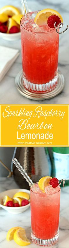 Sparkling Raspberry Bourbon Lemonade Cocktail from @creativculinary #cocktails #lemon #raspberry #bourbon