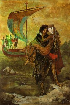 "Illustration by Jan Marcin Szancer from ""Tristan and Isolde"", Wydawnictwo Alfa - Warszawa 1989 Tristan Isolde, King Arthur Legend, Green Knight, Empire Romain, Knight In Shining Armor, Pre Raphaelite, Celtic Art, Illustrators, Illustration Art"