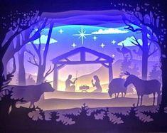 Box paper cut | Etsy Christmas Shadow Boxes, Christmas Window Decorations, Christmas Nativity Scene, Christmas Card Crafts, 3d Christmas, Shadow Box Kunst, Shadow Box Art, 3d Paper Art, Paper Crafts