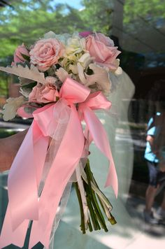 This is actually a tossing bouquet but would be adorable for a flower girl to carry for a wedding. www.sendingsmiles.com