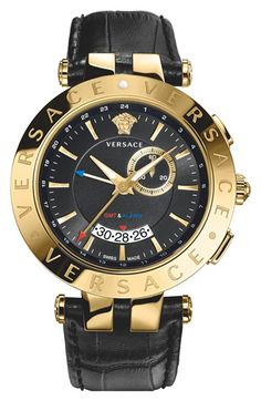 Versace 'V-Race GMT' Leather Strap Watch, 46mm