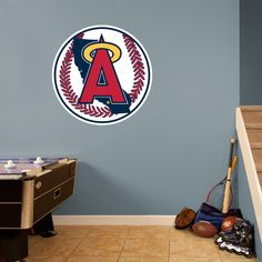 Angels Classic Logo REAL.BIG. Fathead Wall Graphic | Los Angeles Angels Wall Decal | Sports Décor | Baseball Bedroom/Man Cave/Nursery
