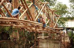 Andrea Fitrianto and locals build Bamboo Bridge in Philipines « Inhabitat – Green Design, Innovation, Architecture, Green Building Bamboo Bamboo, Bamboo Roof, Bamboo Ideas, Bamboo Building, Green Building, Davao, Sustainable Building Design, Bamboo House Design, Philippine Holidays