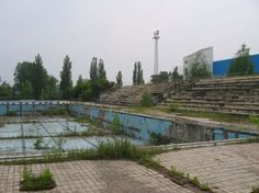 Borov,Croatia Sports complex of the former Bata company. Watering destroyed by artillery fire in 1991. State after 1992.