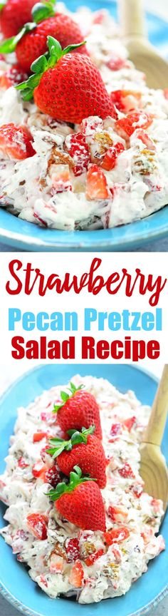 Strawberry Pecan Pretzel Salad is one of the MOST POPULAR recipes. It's cool and creamy with caramelized brown sugar pretzels and diced strawberries. There won't be any leftovers of this dessert salad!