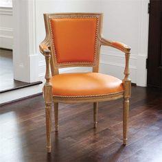 Global Views Furniture Marilyn Orange Leather Arm Chair