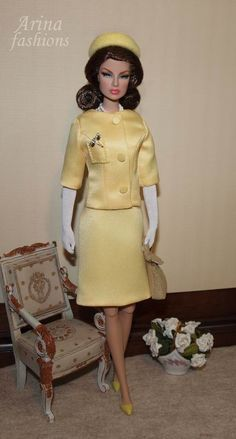Paris. This understated suit, with its crisp A-line skirt and simple boxy jacket enlivened by a pocket, placed off centre and thus purely ornamental. This suit was a favourite of Mrs. Kennedy's, and its foreign début was at a luncheon held at the Elysee Palace, official residence of the President of France, to welcome her to Paris. Later that day she accompanied Mme de Gaulle to the city's Institut de Puericulture, a nursery school that was of special interest to the French first lady.