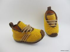 Amarillo zapatos de bebé del ganchillo ganchillo por BUBUCrochet
