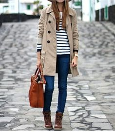 Khaki trench coat, black striped top, black skinny jeans, switch to black booties, cranberry red handbag