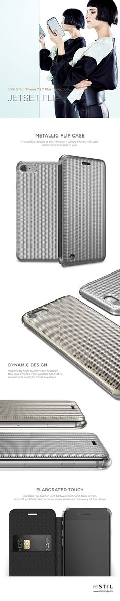 """""""JET SET FLIP"""" is a stunning metallic look case for your #iPhone7. This new flip version of the original """"JET SET"""" case previously offered for #iPhone6 and #6s takes its inspiration from the luxury and sturdy suitcases used by jet setters from all around the world. #iphone #stilmind #stilcase #stilphonecase #stil #apple #7plus #fashion #trend #item #design #mobile #phone #case #2016fw #2016collection #vegetableleather #italianleather #catalog #ebook"""