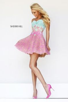 @Sherri Hill #lace #short #Prom2014