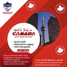 Want to study in Canada? Appy for July 2020 Canada Intake now with Hallmark immigration consultants. Canadian Universities, Ielts, How To Apply, Canada, Study, Education, Studio, Studying, Onderwijs